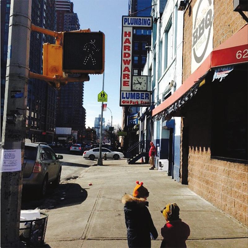 Little girls taking a walk in the big city!
