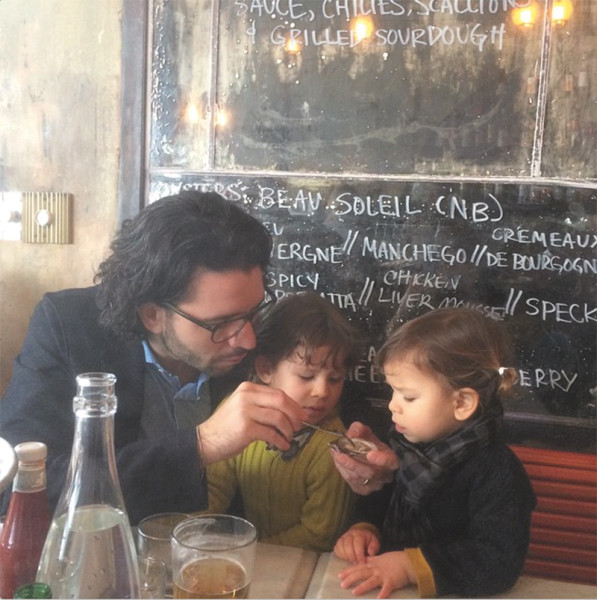 Tasting an oyster at cool Brooklyn restaurant #fiveleaves! #coolplaceswithkids #macaronsfashionroadtrip #macaronsinthestates