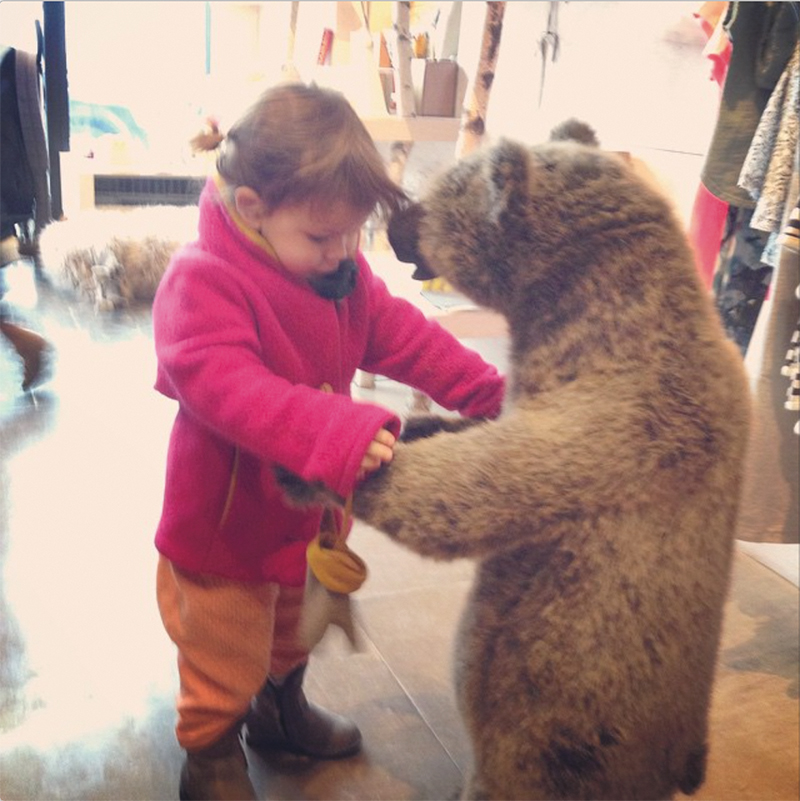 Dancing with a bear in Williamsburg, Brooklyn @sweetwilliamltd #kidsstorestocheckout #greatfunforkids #macaronsfashionroundtrip